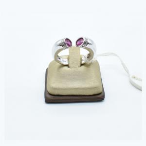 Anello Donna Oro Bianco con Rubini e Diamanti vendita on line | GIOIELLERIA BRUNI Imperia