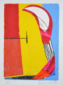 Cascella Tommaso, Aprile, Serigrafia e Collage, Formato cm 26x35