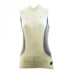 BRIKO Cycling Vest Spinning Woman Short Zip Lucid Cream Gray