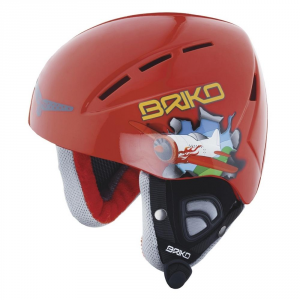 BRIKO Helmet For Downhill Skiing Junior Kodiakino Toy Airplane Red Blue