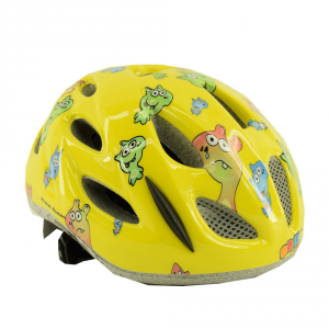 BRIKO Cycling Helmet Junior Bike Racing Roll Fit Pony Fancy Yellow