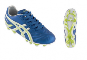ASICS Junior Soccer Shoes Warrior Jr Nr Electric Blue Neon Yellow