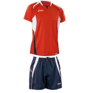 ASICS Kit Man Volleyball T-Shirt + Shorts Red Olympic Navy