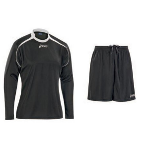 ASICS Football Kit Junior Knit Long Sleeve + Shorts Black Dribbling