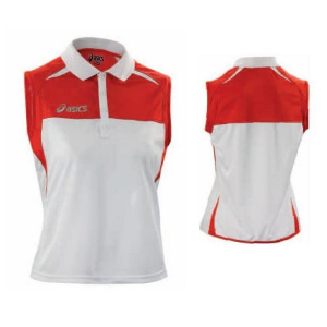 ASICS Polo Tennis Sleeveless For Woman Ribbed Collar Caroline Red White