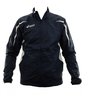 ASICS Unisex Windproof Althletic Running Jacket Barcellona Navy Blue White