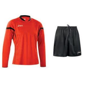 ASICS Men'S Soccer Kit Knit Long Sleeve + Shorts Defense Red