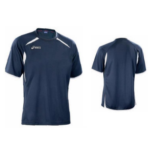 ASICS T-Shirt Junior Tennis Rib Collar Roger Navy White