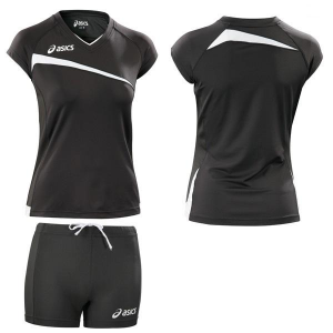 ASICS Volleyball Kit Beach Volley Woman T-Shirt + Shorts Playoff Black