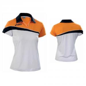 ASICS Polo Women'S Tennis Short Sleeve Navy Blue Steffi Arancio