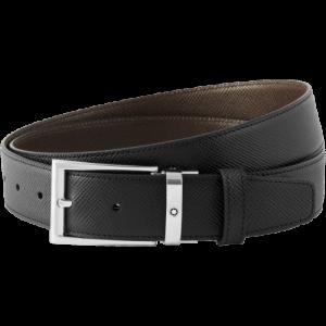 Cintura Montblanc Sartorial nera/marrone scura reversibile cut-to-size