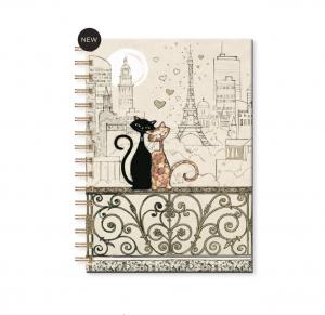Quaderno a spirale in formato A6 con due Gattini a Parigi (nba6h017)