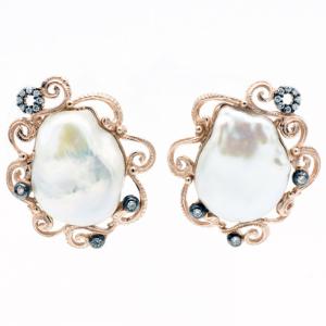 Orecchini Argento placcato oro rosa con perla mave
