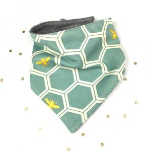 Bavaglino modello bandana fantasia golden bees in cotone biologico