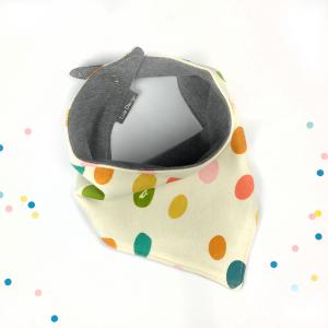 Bavaglino modello bandana fantasia confetti in cotone biologico