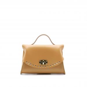 Mini Bag CAPRI cuoio con borchie sulla patta