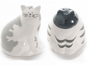Set sale e pepe a forma di gatto in ceramica colorata (713471)