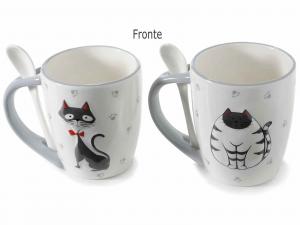 Tazze mug con decoro gatti e cucchiaino integrato (713469)