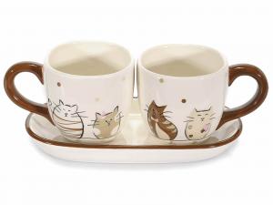 Tazzine da caffè in ceramica con decoro gatti e piattino (713131)