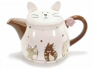 Teiera in ceramica con decoro gattini  (713132)