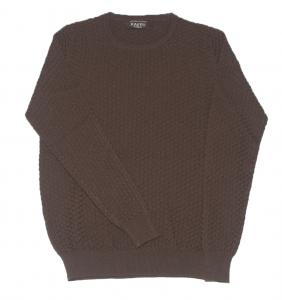 Maglione color tabacco in lana merinos Raffo