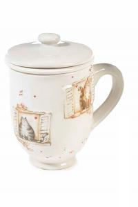 Tazze tisaniera in ceramica con filtro, coperchio e decori con gattini in rilievo (713406)