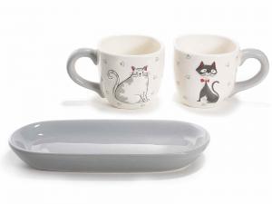 Tazzine da caffé con decorazione gatti e piattino in ceramica (713470)