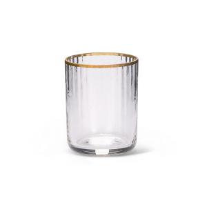 Bicchierino da Liquore in vetro Soffiato con Filo Oro stile Millerighe cm.6,5h diam.5