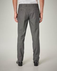 Pantalone chino grigio a trama occhio di pernice