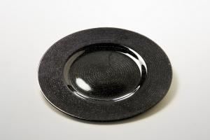 Sottopiatto nero in vetro tondo con riflessi dorati cm.2h diam.34