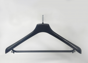 BLACK PLASTIC HANGER WITH ANTI-THEFT HOOK