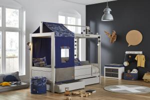 Letto in legno con baldacchino-casetta Blu Camo