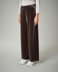 Pantalone palazzo in velluto color tortora