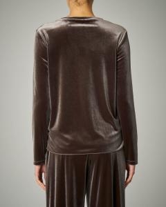 Blusa in velluto color tortora