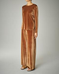 Blusa in velluto color cammello