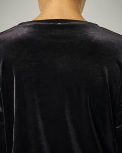 Blusa in velluto nero