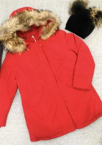 Giacca piumino donna modello woolrch con collo in vera pelliccia TG XS/S/M/L/XL