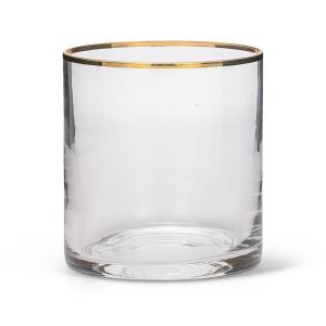 Bicchiere da Acqua in Vetro Soffiato Filo Oro stile Liscio cm.9,5h diam.9