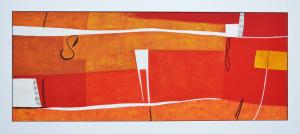 Cascella Tommaso, Il pianeta della Rosa, Serigrafia e collage, Form. cm 40x100