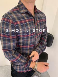 Camicia uomo a quadri in tessuto pesante di flanella made in Italy TG S/M/L/XL