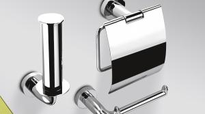 Porta rotolo con coperchio per il bagno serie Basic Colombo design