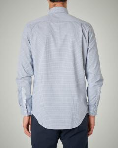 Camicia azzurra micro-quadretto button down con taschino