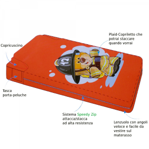Completo letto singolo 1 piazza in pile Yo-Yo Orsetto vigile del fuoco rosso