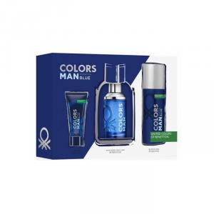 Benetton Colors Man Blue Eau De Toilette Spray 100ml Set 3 Parti 2018