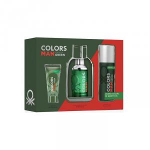 Benetton Colors Man Green Eau De Toilette Spray 100ml Set 3 Parti 2018