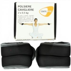 GET FIT Polsiere con pesi da 0,5 Kg nero - Attrezzatura fitness palestra