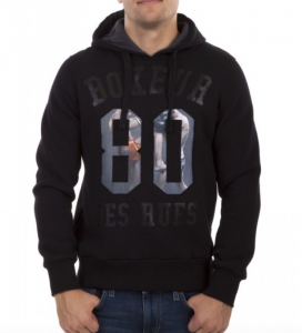 BOXEUR DES RUES Felpa uomo Man 80 Insert con cappuccio Casual BXE4314Z-BLACK