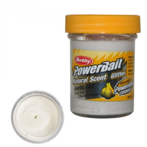BERKLEY Pasta Powerbait Natural Scent Glitter Garlic bianco