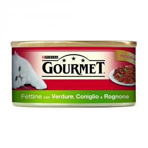 Set  24 PURINA Rosso Lattina 195 Gr. Fettine Con Coniglio Rognone E Verdure Umido Gatto
