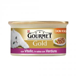 Set  24 PURINA Gold Dadini Con Vitello E Verdure In Salsa Umido Gatto Gr. 85